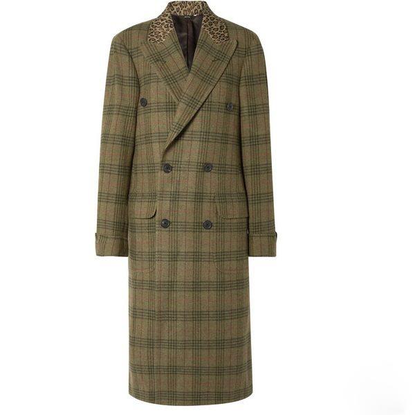 R13 大廓形豹纹纯棉边饰格纹羊毛斜纹布外套 ,271.25(约8,804元)