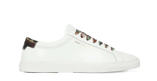 SAINT LAURENT 20MM ANDY LEATHER & CAMOUFLAGE SNEAKERS