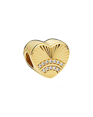 18K Over Silver CZ Fan of Love Charm