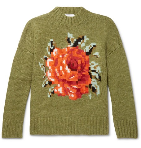 AMI Oversized Floral-Intarsia Wool Sweater