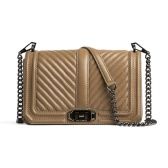 【双11】Rebecca Minkoff 瑞贝卡明可弗 Chevron Quilted Love 斜挎链条包